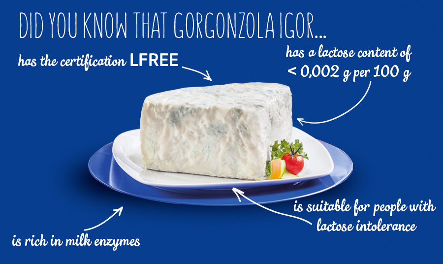 Gorgonzola IGOR is the first cheese certified Lfree and approved by the AILI