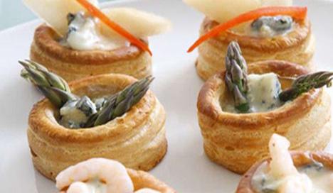Vol-au-vent-Dreierlei mit Gorgonzola