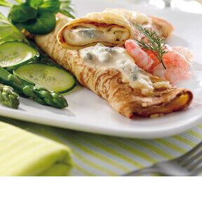 PANCAKES WITH ASPARAGUS AND GORGONZOLA