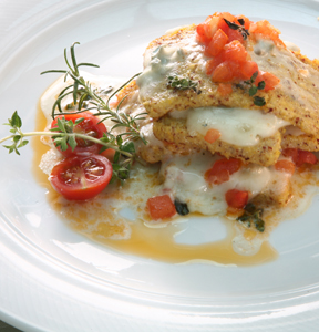 POLENTA LASAGNETTA WITH GORGONZOLA AND TOMATOES